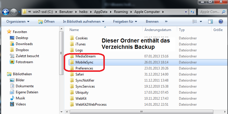 pfad backup itunes daten