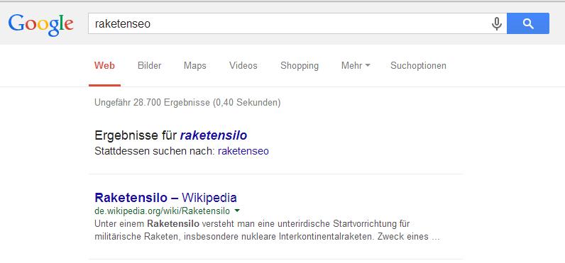 Raketenseo in der Google Suche