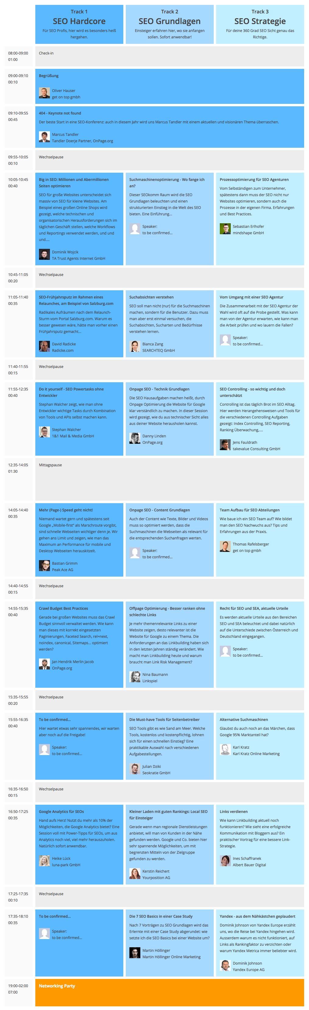 SEOkomm Agenda 2015, Stand 20150615