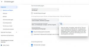 Google Kalender Einstellungen - Spam verhindern